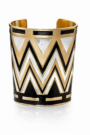 House of Harlow 1960 14KT Gold Tribal Cuff in White