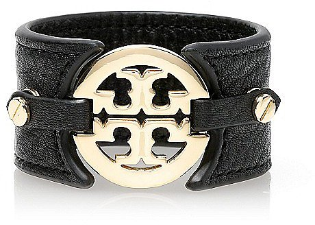 Tory Burch Logo Wide Double Snap Cuff