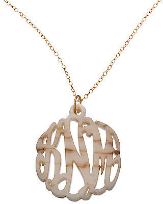 Shell Acrylic Script Cutout 1 14 Inch Monogram Necklace