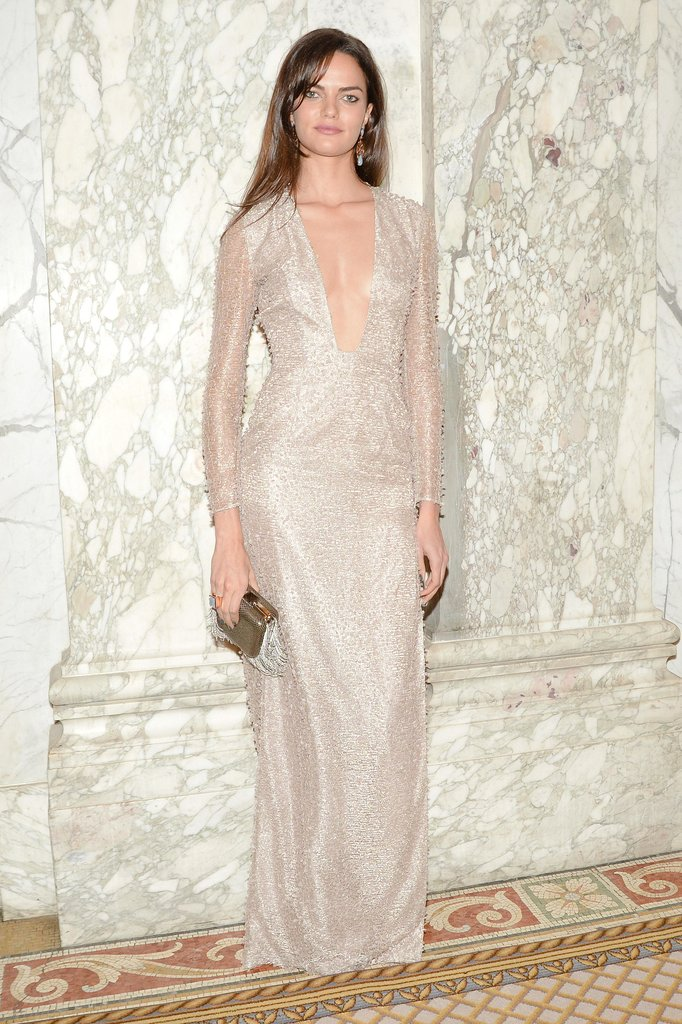 Barbara Fialho glowed in a silver-toned V-neck gown. Source: Matteo Prandoni/BFAnyc.com