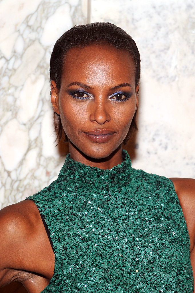A slicked-back style put model Yasmin Warsame's blue shadow on full display.