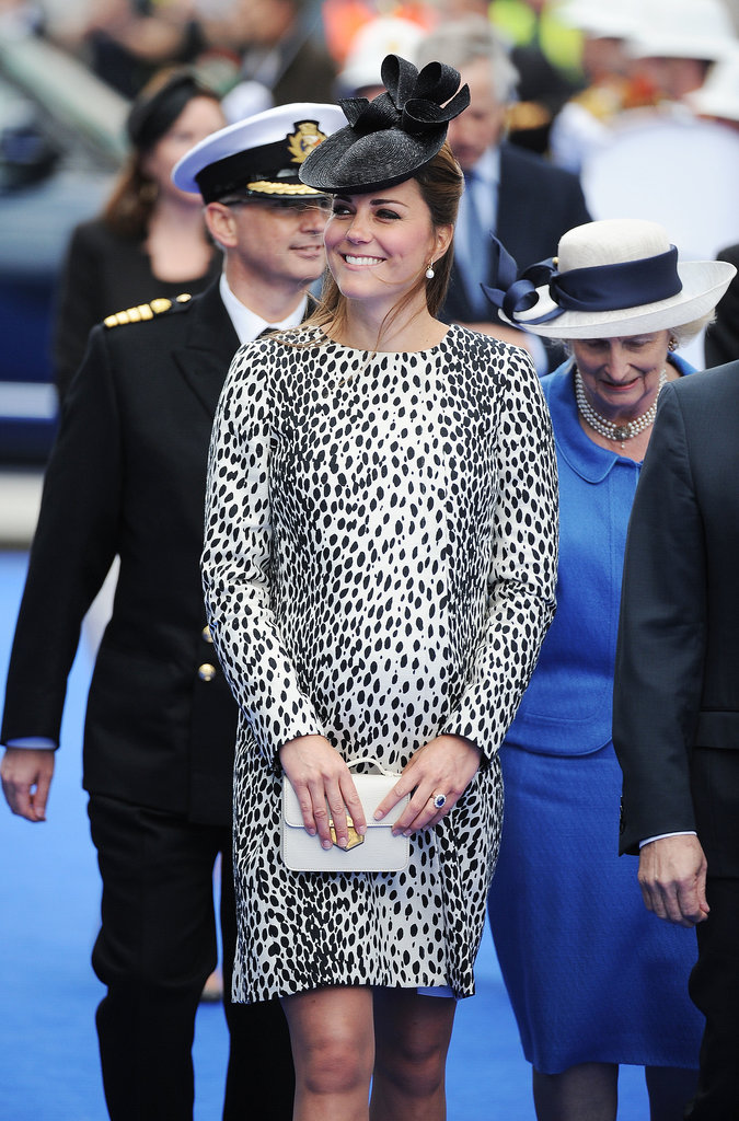 Kate Middleton covered her baby bump in a leopard Hobbs coat for her final solo public appearance before maternity leave to christen a Princess Cruises ship in Southampton, England.