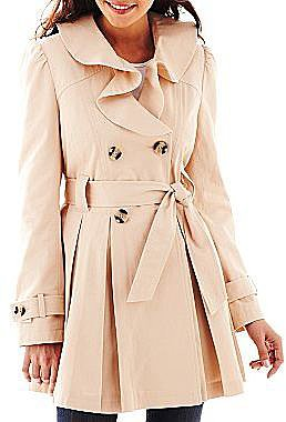 Coffee Shop Double-Breasted Trenchcoat with Ruffled Collar