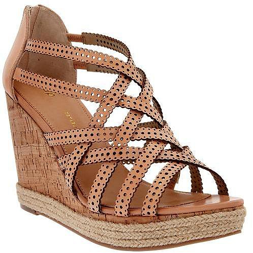 Perforated wedge sandals