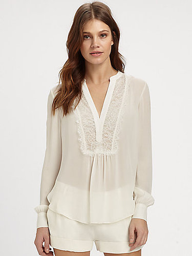 Haute Hippie Lace-Trim Silk Blouse