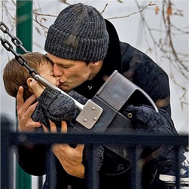 """Gisele Bündchen shared a sweet picture of Tom Brady and Benjamin, saying, """"Thank you for being the most loving father in the world. Wish I could be with you today."""" Source: Instagram user giseleofficial"""