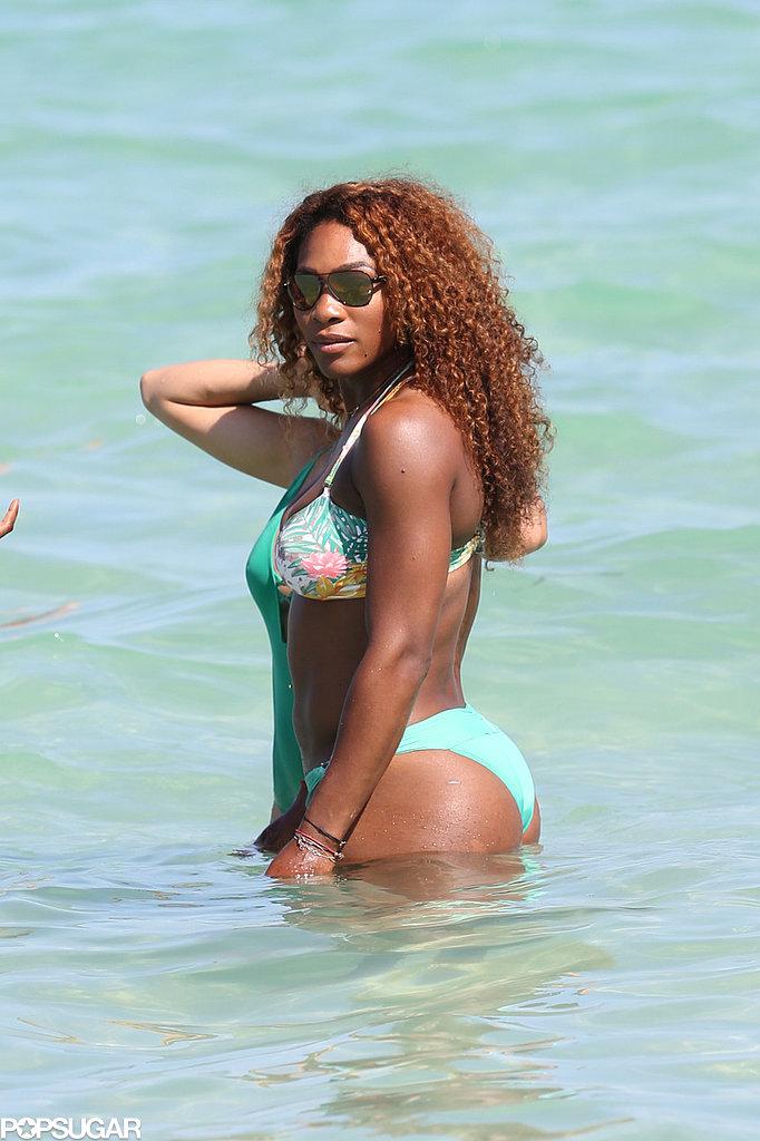 Serena Williams hit the beach in Miami on Saturday.