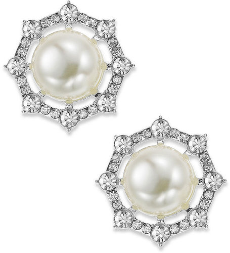 Charter Club Earrings, Silver-Tone Imitation Pearl Clip-On Button Earrings