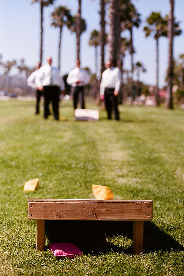 Go Green From Bocce ball to the bean bag toss to croquet, lawn games get your guests moving and interacting before the DJ even begins. Photo by Beaux Arts Photographie via Style Me Pretty