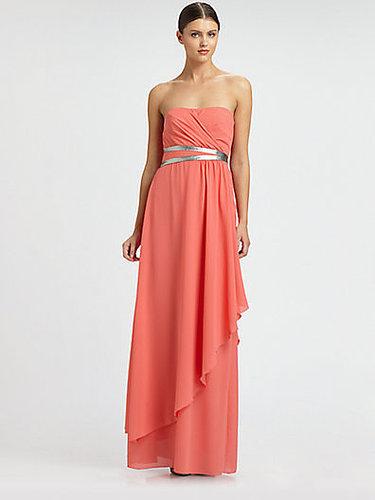 Nicole Miller Strapless Georgette Gown