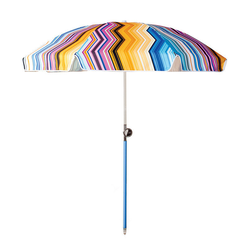 For a special splurge, the Spanish Chevron umbrella ($239) by Basil Bangs offers UPF protection and will make your family the most stylishly