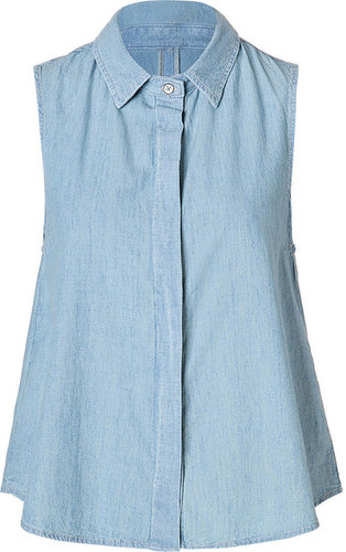 Rag & Bone Denim Sleeveless Tent Shirt in Moonshine