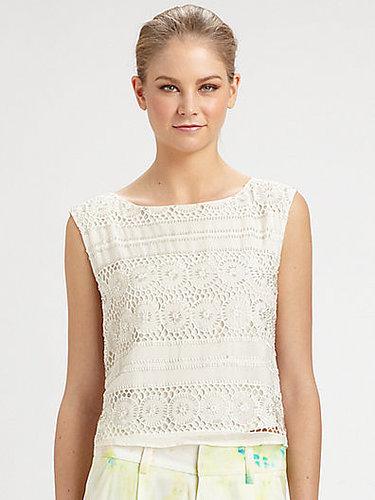 Alice + Olivia Vera Crochet Silk Crop Top