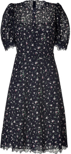 Valentino Embroidered Cotton Eyelet Dress in Midnight Blue-Multi