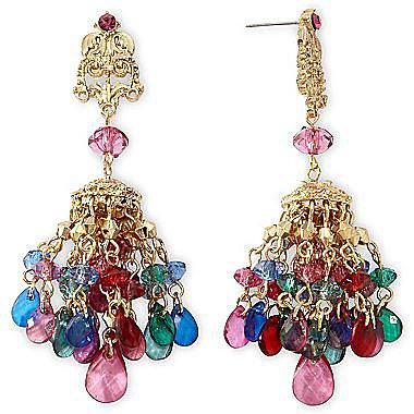 Gold-Tone Multicolor Tassel Chandelier Earrings