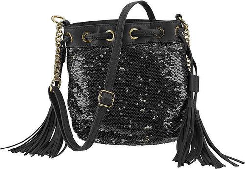Silk Elements Sequin Tassel Bag Black & Gold