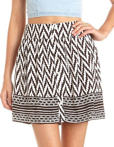 Button-Front Tribal Print Skirt