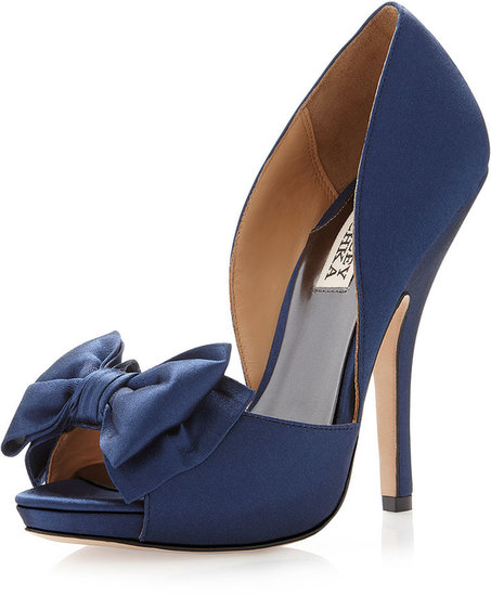Badgley Mischka Mable Satin Bow Pump, Navy