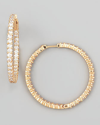 Roberto Coin 38mm Rose Gold Diamond Hoop Earrings, 2.46ct