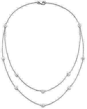 Crystal Necklace, Double Row Ball Sterling Silver