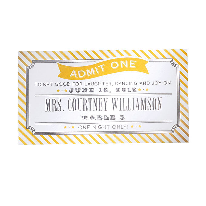 Flat Printed Seating Cards $1,550 for 100 (includes invitations, RSVPs, and envelopes), Swiss Cottage Designs See more creative place cards. Read the rest of the story: Style Inspiration: State Fair