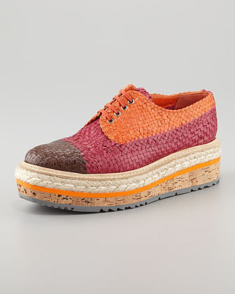 Prada Tri-Color Woven Flatform Oxford