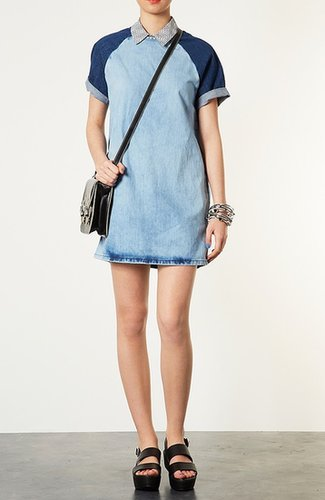 Topshop Contrast Sleeve Denim Dress