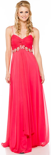 Im-11318 Empire Waist Formal Dress with Sequin Accent-Satin-Boutique.com