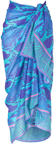 Matthew Williamson Escape Blue Snake Print Cotton Sarong