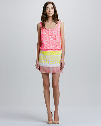 Tracy Reese Scoop-Neck Mixed Media Dress