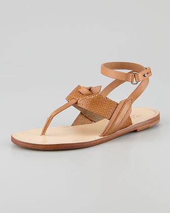 Rag & Bone Sigrid Ankle-Wrap Thong Sandal, Tan