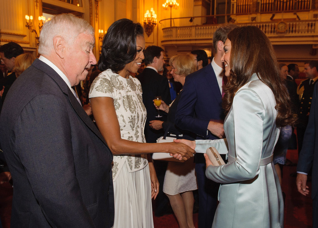 The Duchess of Cambridge welcomed Michelle Obama to Buckingham Palace before the London Olympic Games in July 2012.