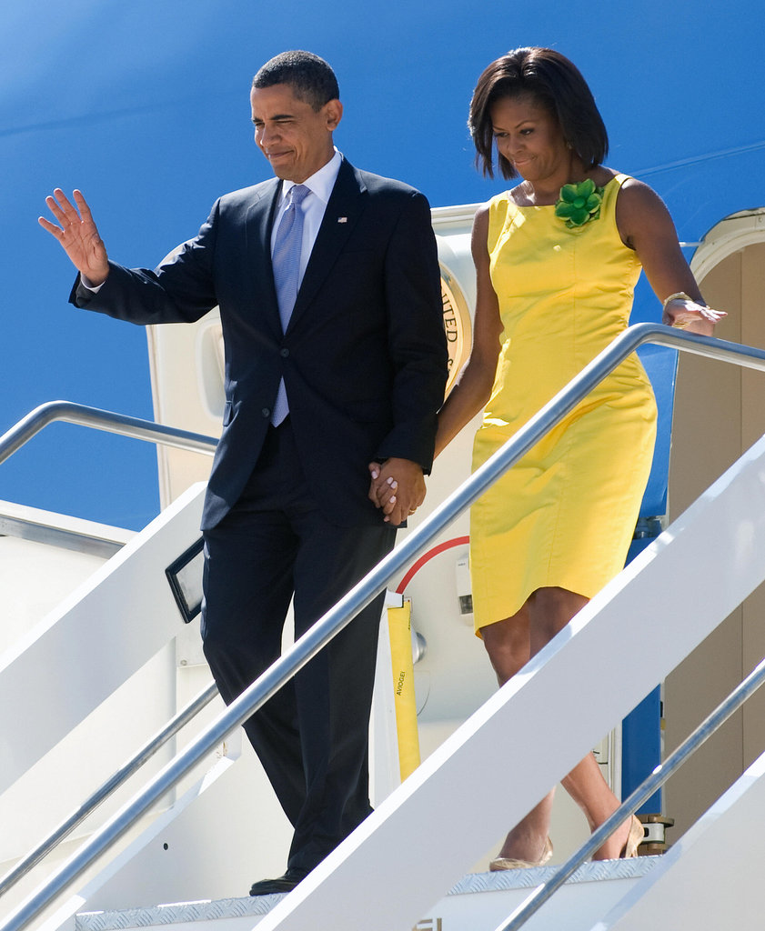 In July 2009, President Obama waved to onlookers when he and Michelle arrived in Rome for a short stay.