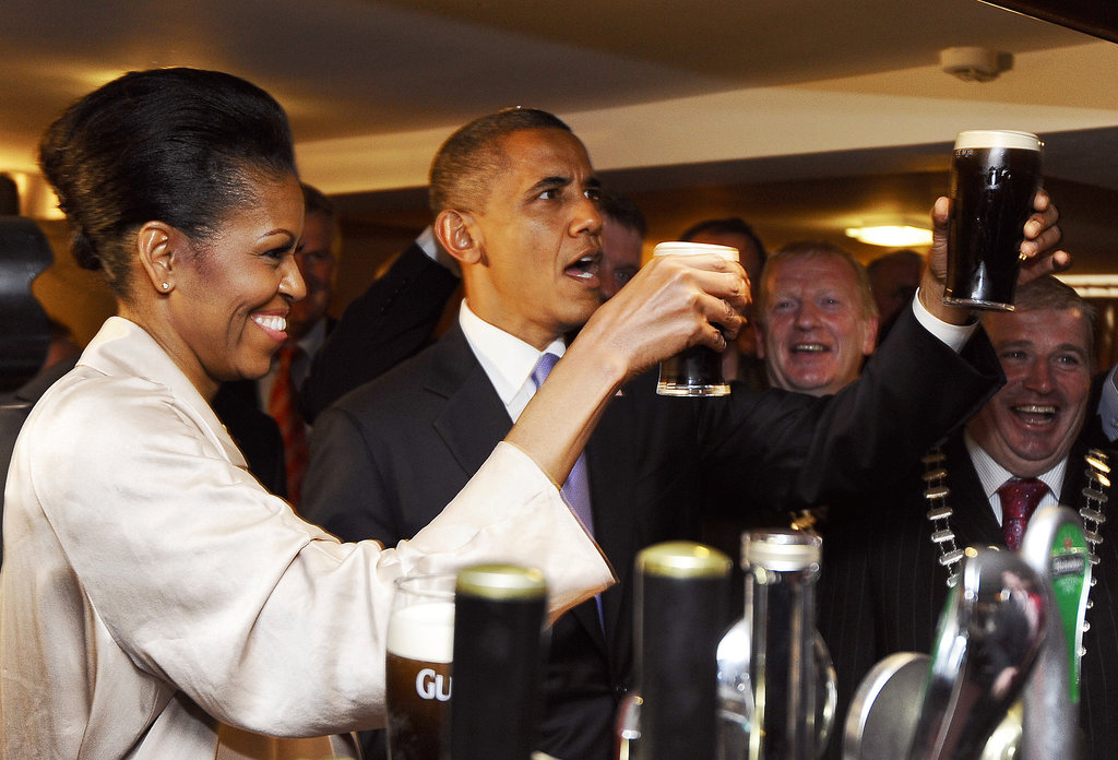 During a trip to Ireland in May 2011, the Obamas sipped Guinness at a pub in Moneygall, a rural village where the president's great-great-great-grandfather once lived.