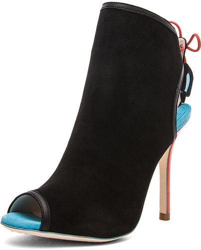 Sophia Webster Tali Peep Toe Ankle Boot in Black Suede & Turquoise & Mandarin Red