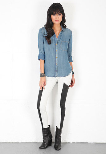 Bella Dahl Denim Shirt Tail Button Down in Aged Denim