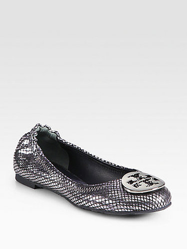 Tory Burch Reva Snake-Print Mirror Leather Ballet Flats