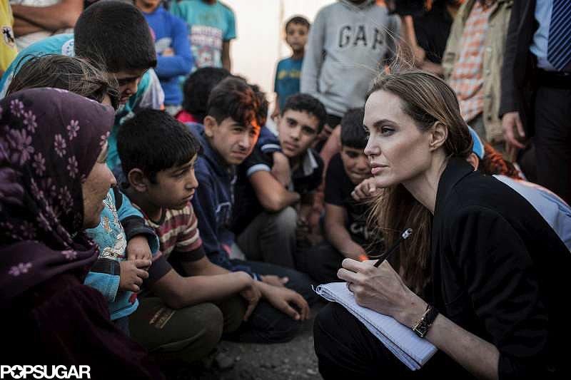 Angelina Jolie met with Syrian refugees on the Jordan-Syria border.