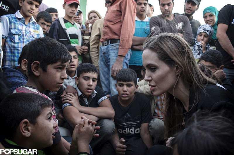 Angelina Jolie comforted refugees.