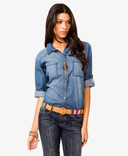 FOREVER 21 Raglan Sleeve Denim Shirt