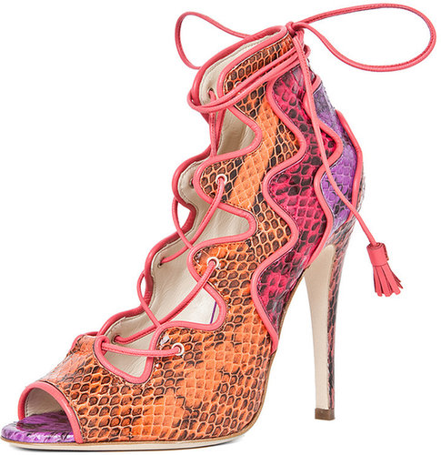 Brian Atwood Kayla Lace Up Bootie in Snake Multi