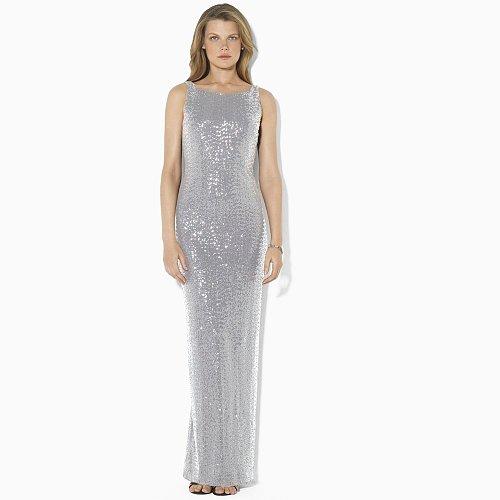Ralph Lauren Sequined Draped-Back Dress