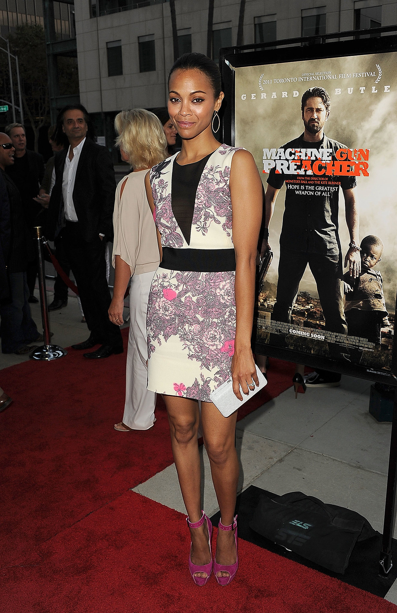 For the September 2011 premiere of Machine Gun Preacher, Zoe opted for bright florals via this Giambattista Valli number and fuchsia-hued Brian Atwood pumps.