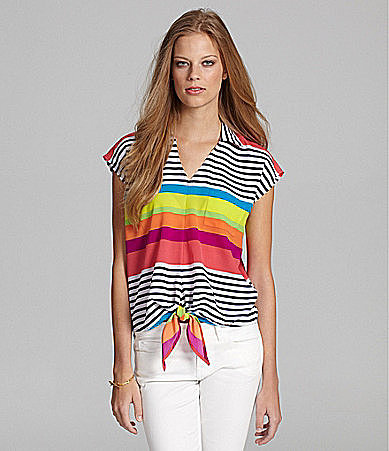 Cupio Cap-Sleeve Stripe Tie-Front Blouse
