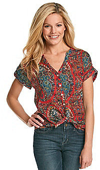 Lucky Brand® Paisley Tie-Front Shirt