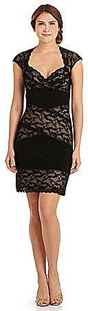 Marina Contrast-Panel Lace Dress