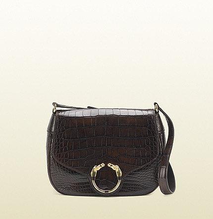 Ribot Horse-Heads Crocodile Shoulder Bag