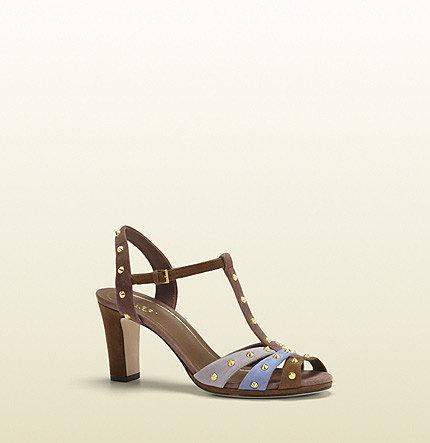 Jacquelyne Multicolor Suede Mid-Heel Studded Sandal