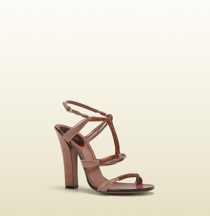 Anita Metallic Leather And Suede High-Heel Sandal