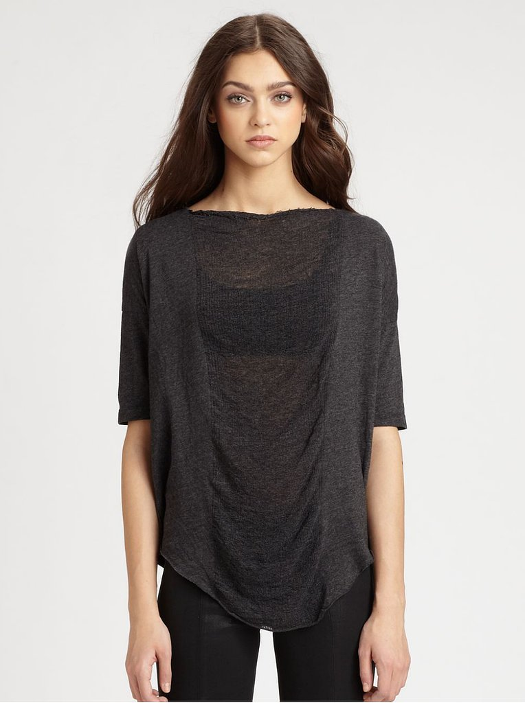 And for anyone reluctant to call a t-shirt true fashion, Raquel Allegra has a strong argument to the contrary. Her distressed, partly sheer styles like this one ($150, originally $214) are true works of art.